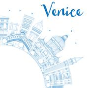 Outline Venice Skyline Silhouette with Blue Buildings Stock Illustration