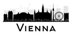 Vienna City skyline black and white silhouette Stock Illustration