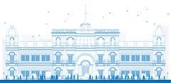 Outline university or college building Stock Illustration