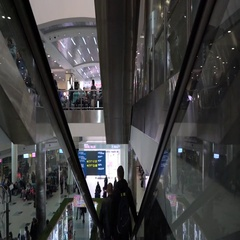 : Movement on the escalator in the airport Domodedovo Stock Footage