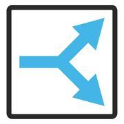 Bifurcation Arrow Right Framed Glyph Icon Stock Illustration