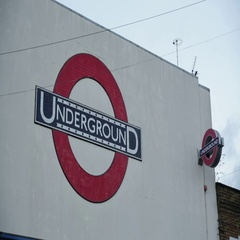 Large Underground sign in London Stock Footage