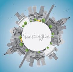 Washington DC city skyline with Gray Landmarks Stock Illustration