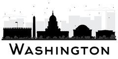 Washington DC City skyline black and white silhouette Stock Illustration
