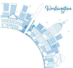 Outline Washington DC Skyline Stock Illustration