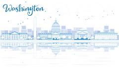 Outline Washington DC City Skyline Stock Illustration