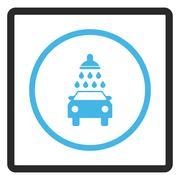 Car Wash Framed Glyph Icon Stock Illustration
