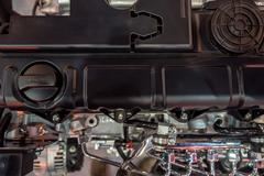 Close-up shot of diesel truck engine Stock Photos