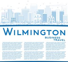 Outline Wilmington Skyline with Blue Buildings and Copy Space Stock Illustration