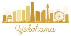 Yokohama City skyline golden silhouette Piirros