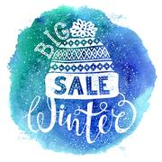 Winter Special banner or label with a knitted woolen cap on watercolor Stock Illustration