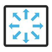 Explode Arrows Framed Glyph Icon Stock Illustration