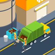 Garbage Collection Isometric Poster Stock Illustration