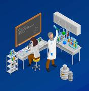 Scientist Isometric Concept Composition Piirros