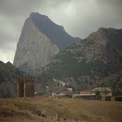 Mountain Sokol from the Genoese fortress Stock Footage