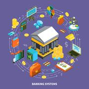 Banking Systems Isometric Round Composition Stock Illustration