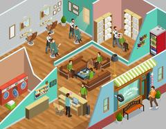 Barbershop Interior Isometric Illustration Stock Illustration