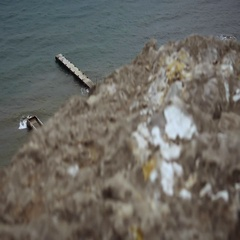 View of the old pier in the town of Sudak Stock Footage