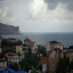 View of the roof of the hotel and on the Black Sea in the town of Sudak Stock Footage
