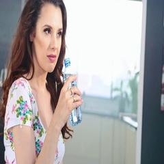 Brunette beauty srinking still water, slow motion Stock Footage
