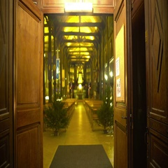 Open doors of beautiful and cozy cathedral inviting parishioners, religion Stock Footage