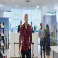 4K View behind screen of customer in modern bank using interactive atm machine Stock Footage
