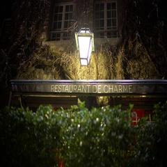 Beautiful facade of old French restaurant, horeca business, establishing shot Stock Footage
