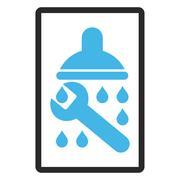 Shower Plumbing Framed Glyph Icon Stock Illustration