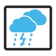 Thunderstorm Clouds Framed Glyph Icon Stock Illustration