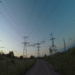 Country road with power line Stock Footage