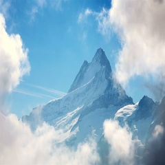 Amazing Mountain Landscape. Famous Mount Eiger in Clouds. Stock Footage