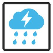 Thunderstorm Framed Glyph Icon Stock Illustration
