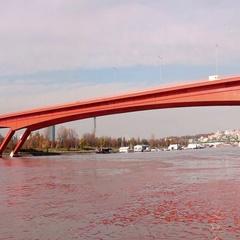 "Bridge ""Gazelle"" over Sava river in Belgrade Stock Footage"