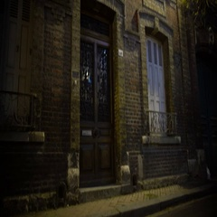 Evening view on old haunted house, ancient building, mystical place at night Stock Footage