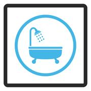 Shower Bath Framed Glyph Icon Stock Illustration