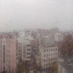Rain in city - waterdrops on window Stock Footage