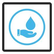 Water Service Framed Glyph Icon Stock Illustration
