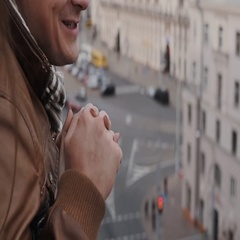 Love in the city. Happy couple spends time together, talking, laughing, holding Stock Footage