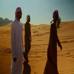 Emirati men walking together on desert. Stock Footage