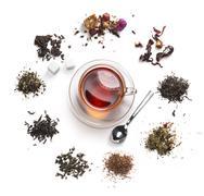 Tea accessories on a white background Stock Photos