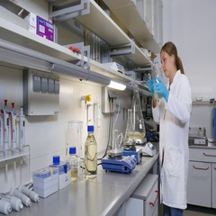 Researcher in the laboratory at the stirrer Stock Footage