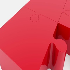 Randomly moving puzzle pieces in red color on white Stock Footage