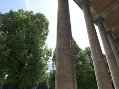 Poles at the entrance to haus der Kunst (literally House of Art) in Munich Stock Footage