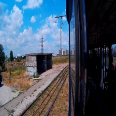 View from tram car on spring suburb, filmed on action camera Stock Footage