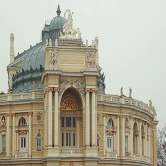 Odessa Opera and Ballet Theater building in Odessa, Ukraine on winter day Stock Footage