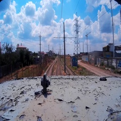 View from roof of tram on suburb under blue sky filmed on action camera Stock Footage