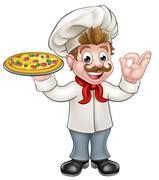 Pizza Chef Stock Illustration