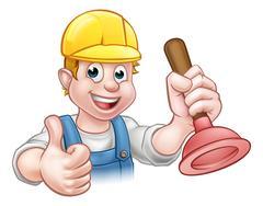 Plumber Handyman Holding Plunger Stock Illustration