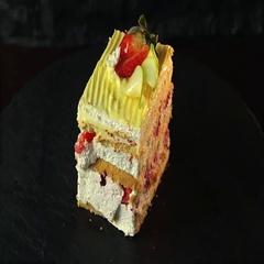 Cream cake dessert strawberry cake frosting sweet Stock Footage