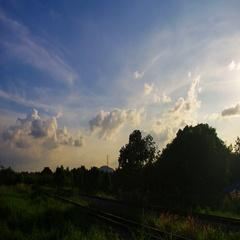 4K Time lapse of nice landscape and clouds movement at railway Stock Footage